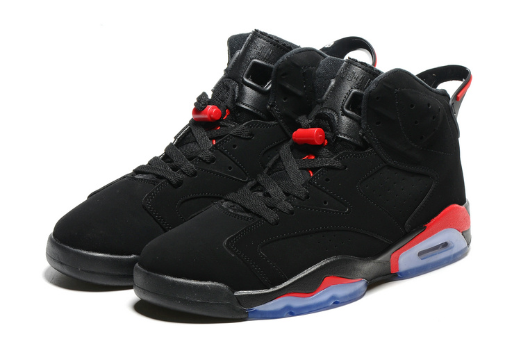 Original Jordans 6 Black Infrad Red Blue Sole Basketball Shoes