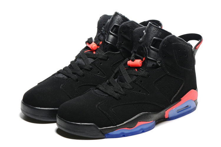 Original Jordans 6 Black Red Blue Sole Basketball Shoes
