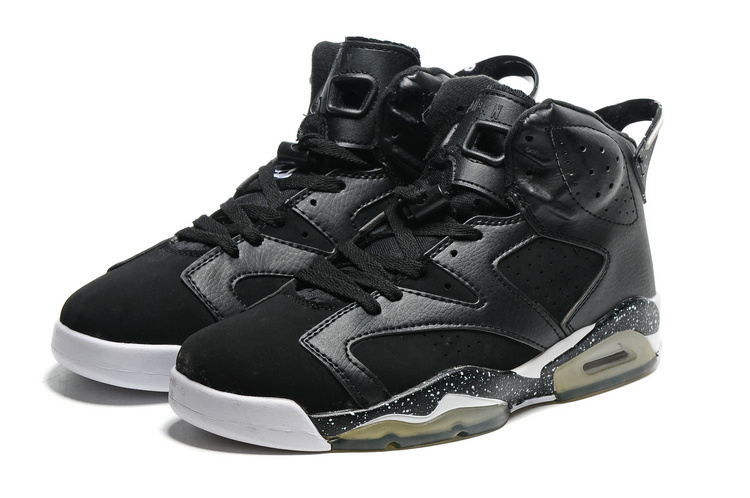 Original Jordans 6 Black White Transparent Sole Basketball Shoes
