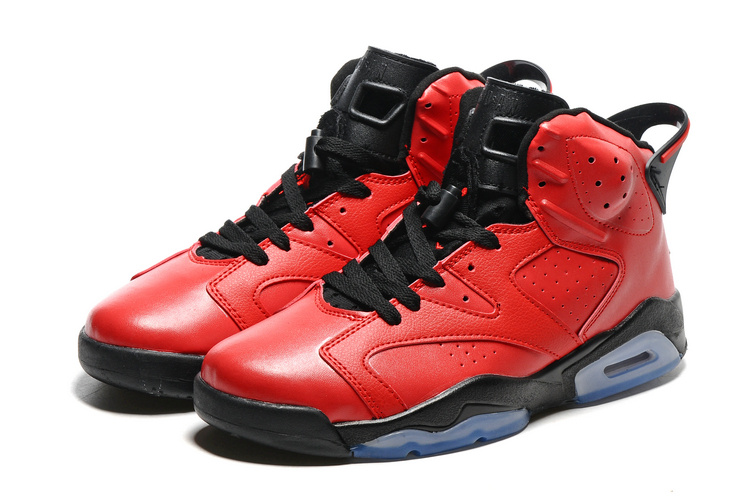 Original Jordans 6 Red Black Blue Sole Basketball Shoes