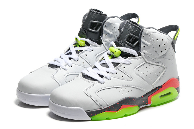 Original Jordans 6 White Grey Fluorscent Green Sole Basketball Shoes
