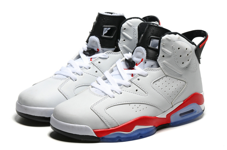 Original Jordans 6 White Red Blue Sole Basketball Shoes