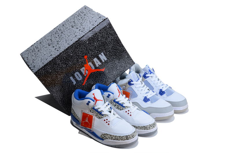 Original Limited Combine Classic White Blue Jordans 3&4