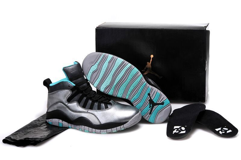 Original Silver Black Blue Jordans 10 Retro Bulls Over Broadway Sneaker