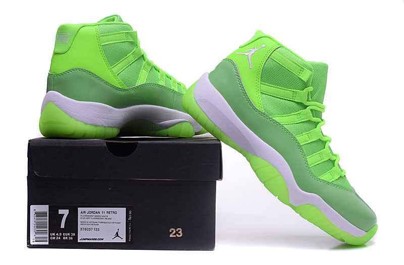 Original WOmen Jordans 11 Retro Fluorscent Green White Basketball Shoes