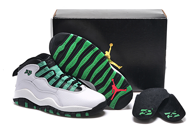 Original White Green Black Jordans 10 Retro Bulls Over Broadway Sneaker