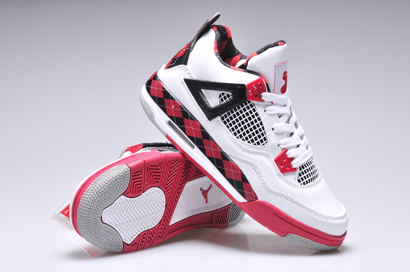Original Women Jordan 4 Barefoot Print Classic White Red Black