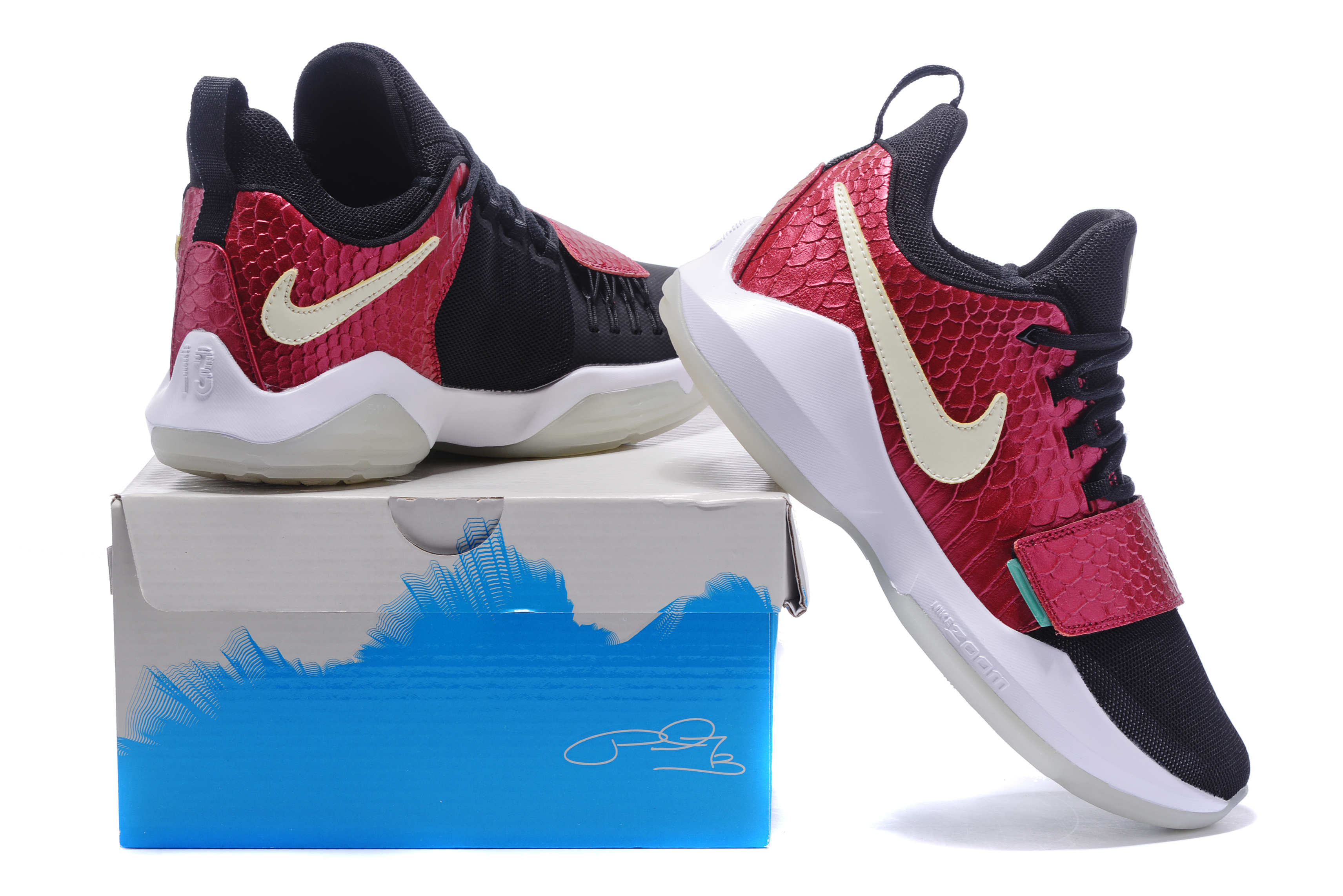 Paul George 1 Black Wine Red Glow In Dark Shoes On Sale