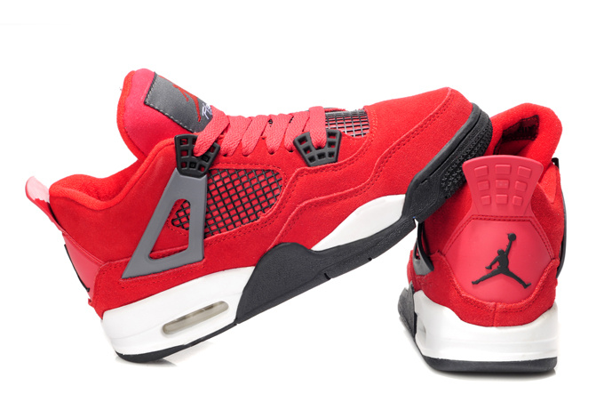 Retro Air Jordan 4 Original Red White For Women_04
