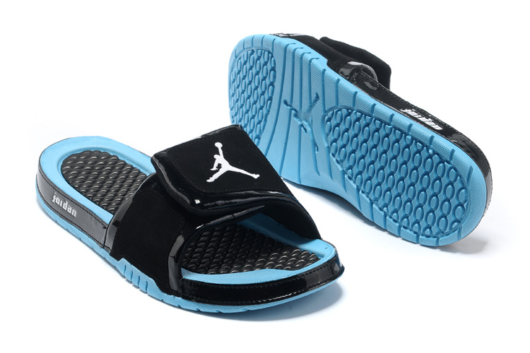 54cafaf46327 ... Retro 2013 Jordan Hydro 2 Original Black Blue Slippers ...