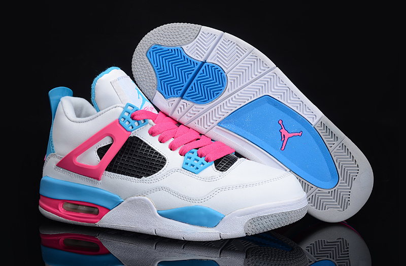 Retro Air Jordan 4 New White Blue Pink For Women_07