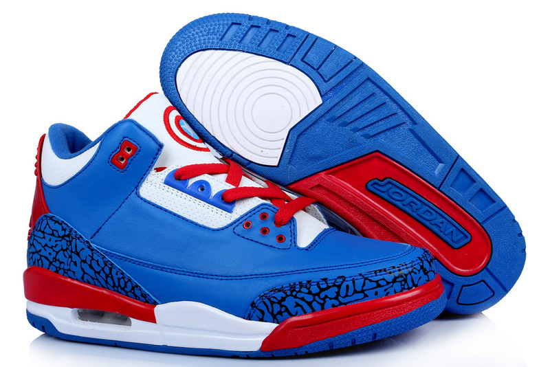 Retro Jordans 3 Original Captain America Edition Blue White Red