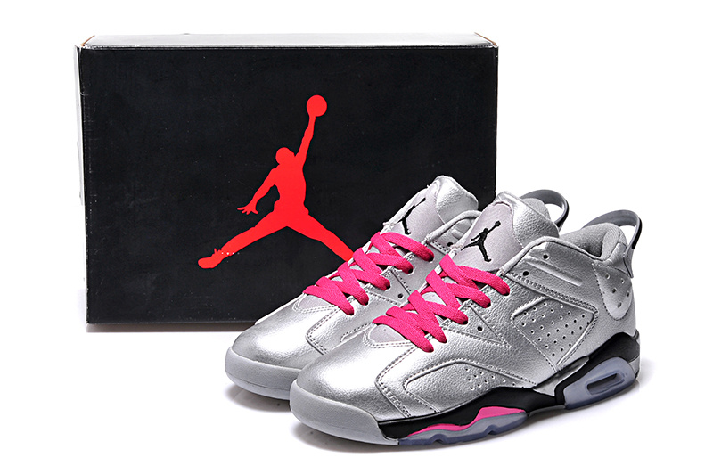 Silver Pink Black Jordans 6 Retro Low Lovers Shoes