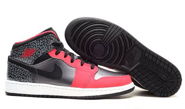Women Jordans 1 Black Sliver Pink Shoes