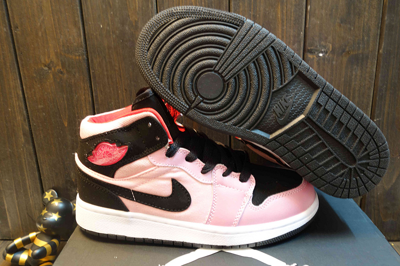 Women Jordans 1 High Black Pink Shoes
