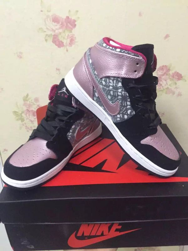 Women Jordans 1 Valentinate Day Black Pink Shoes