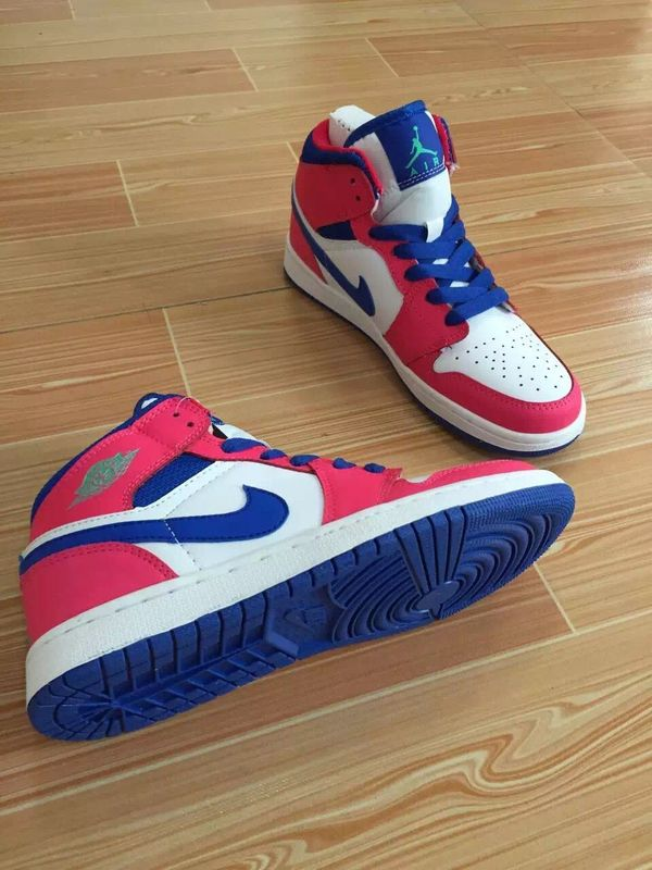 Women Jordans 1 White Blue Red Basktball Shoes