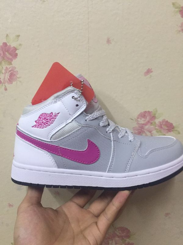 Women Jordans 1 White Grey Pink Basketabll Shoes