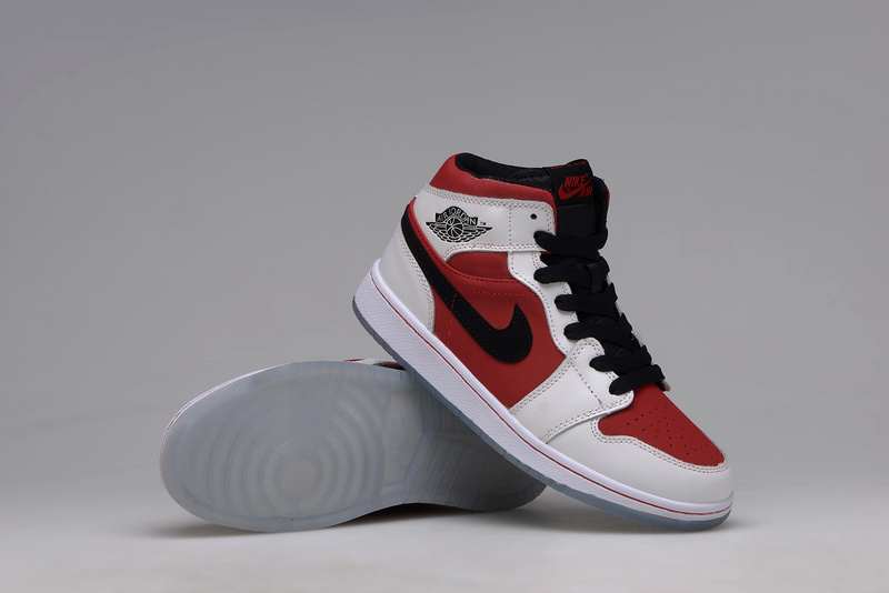 Women Jordans 1 White Rouge Red Shoes