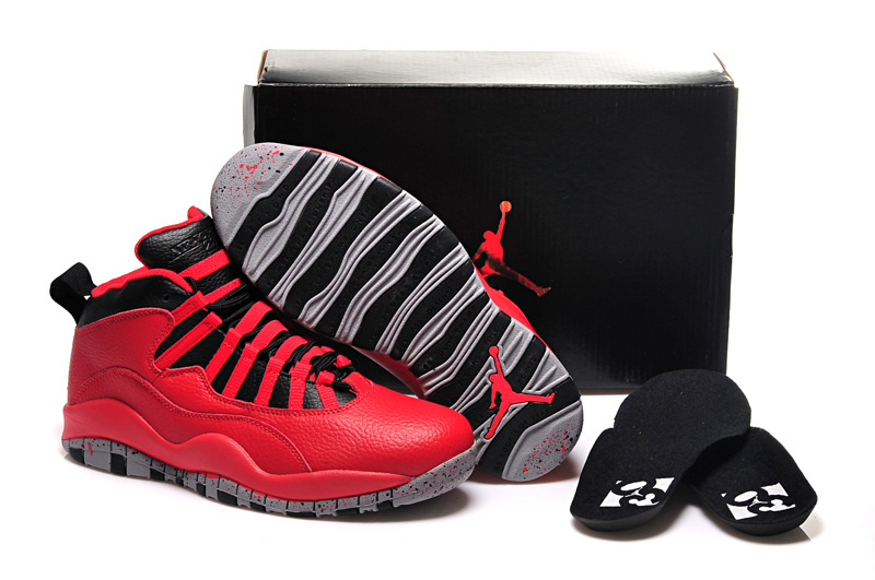 Women Jordans 10 Red Black Basketball Shoes