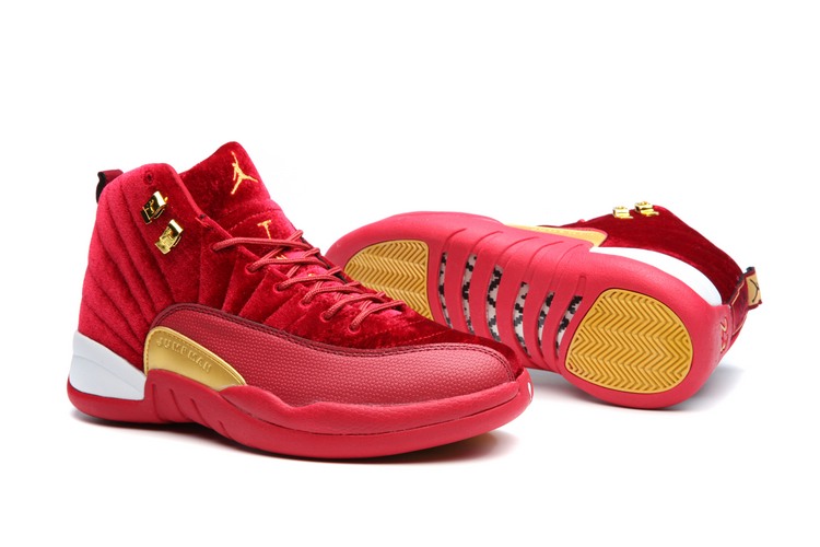 Women Jordans 12 Plueche Red Gloden White Shoes