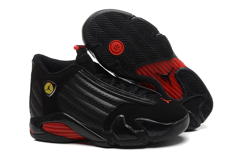 Women Jordans 14 Black Red Shoes