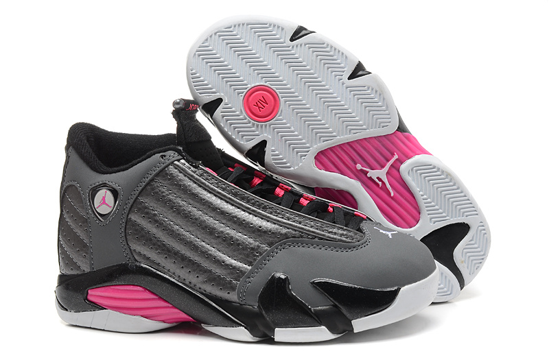 Women Jordans 14 Grey Black Pink SHoes
