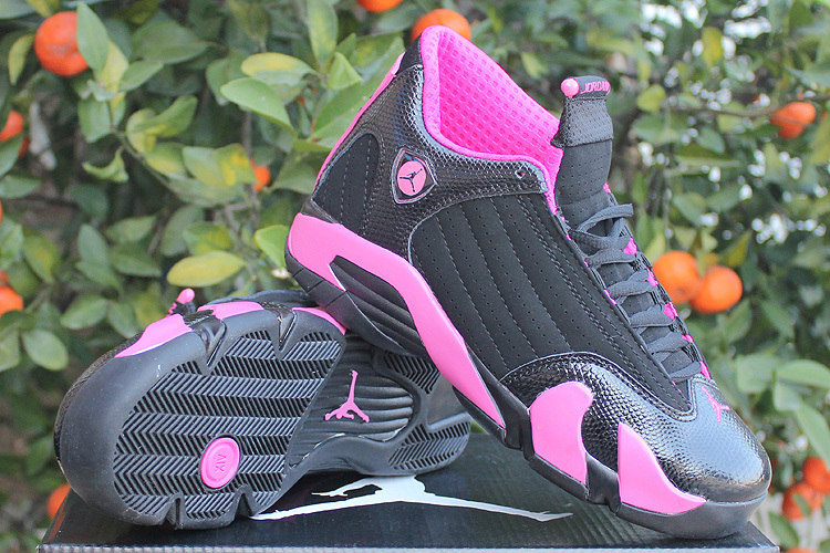 Women Jordans 14 Pink Black Shoes