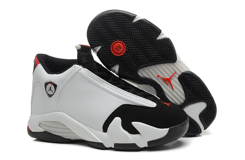 Women Jordans 14 White Black Shoes