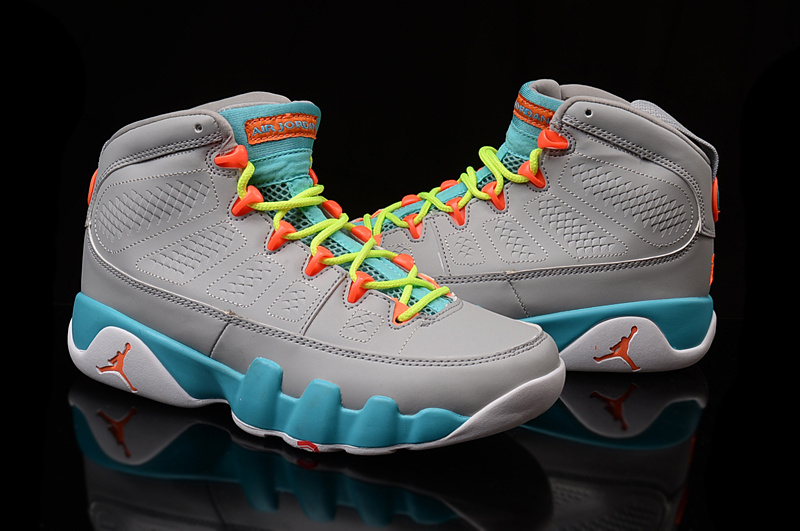 Women Jordans 9 Grey Blue Basketball Shoes