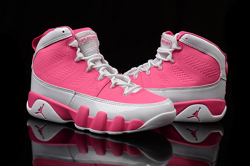 Women Jordans 9 Pink White Shoes