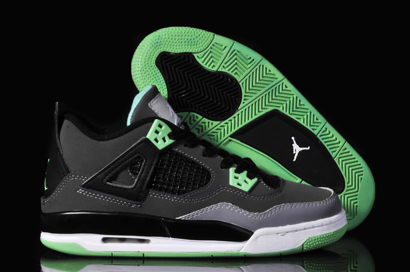 Women New Jordan 4 Oreo Original Black Grey Green_04