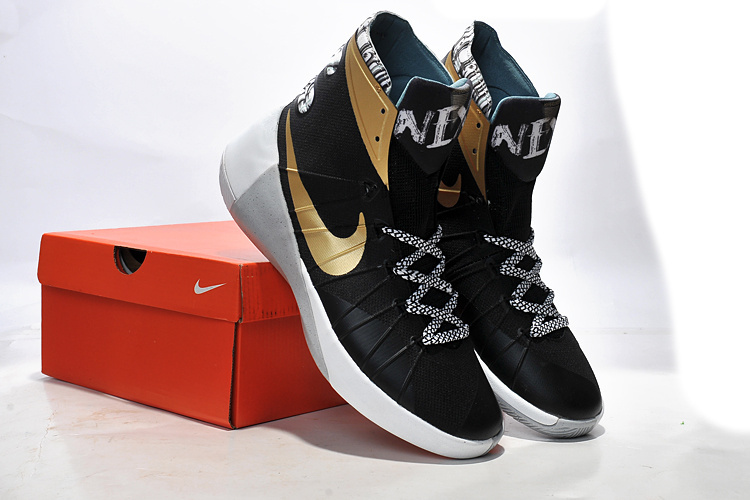 Nike Women Hyperdunk 2015 Black Gold Basketball Sneaker For Sale