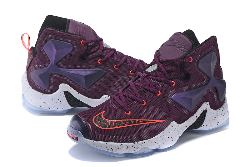 New Women Nike Lebron 13 Purple Red White Sneaker