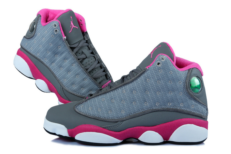 Women Original Jordan 13 Retro Grey Red White With 3D Eye Recoil Air Cushion
