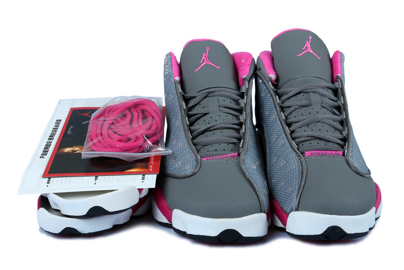 New Women Jordan 13 Grey Red White With 3D Eye And Recoil Air Cushion