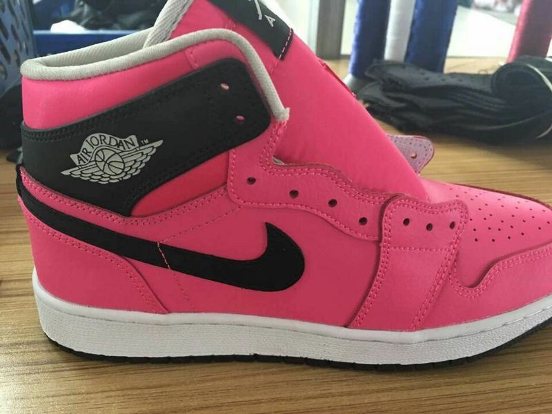 Women Original Jordans 1 Pink Black White Shoes