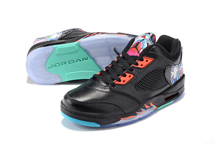 Women Original Jordans 5 Low Classic Kite Black Orange Shoes